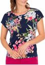 Anna Rose Sequin Trim Floral Top Navy/Pink - Gallery Image 2