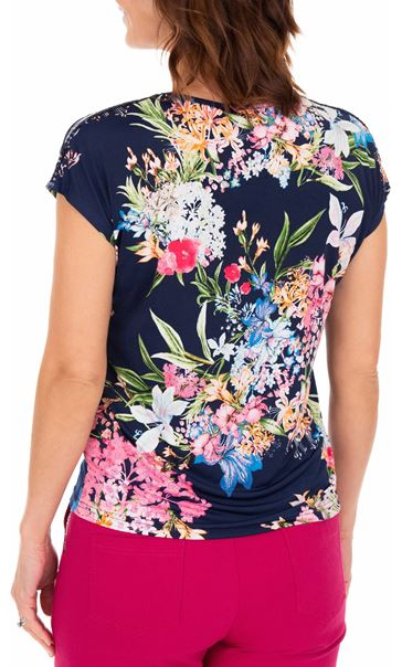 Anna Rose Sequin Trim Floral Top Navy/Pink - Gallery Image 3