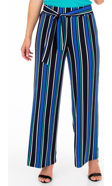 Wide leg Striped Stretch Trousers Midnight Multi