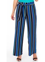 Wide leg Striped Stretch Trousers