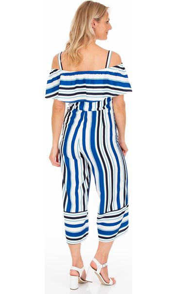 Striped Cropped Jumpsuit Blue/Ivory - Gallery Image 2