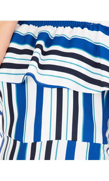 Striped Cropped Jumpsuit Blue/Ivory - Gallery Image 3