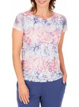 Anna Rose Burn Out Layered Print Top
