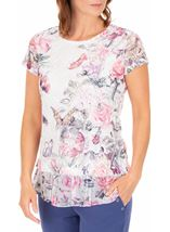 Anna Rose Printed Layered Top White/Pink - Gallery Image 1