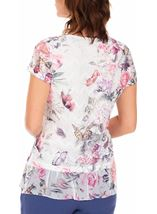 Anna Rose Printed Layered Top White/Pink - Gallery Image 2