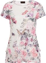 Anna Rose Printed Layered Top White/Pink - Gallery Image 4