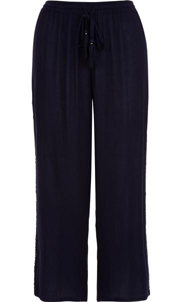Anna Rose Embroidered Cropped Trousers Navy - Gallery Image 4