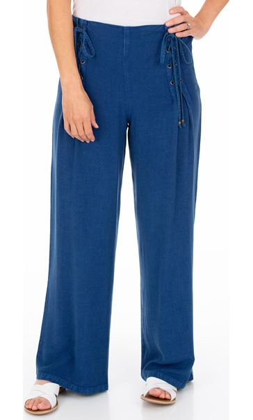 Wide leg Lace Up Trousers Blue