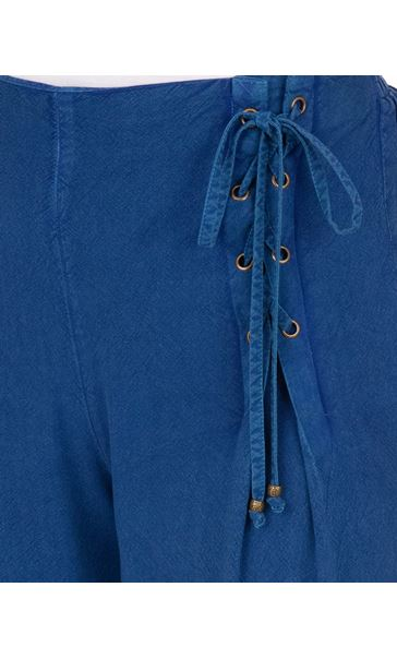Wide leg Lace Up Trousers Blue - Gallery Image 3