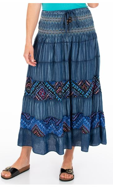 Panelled Boho Maxi Skirt Blues - Gallery Image 1