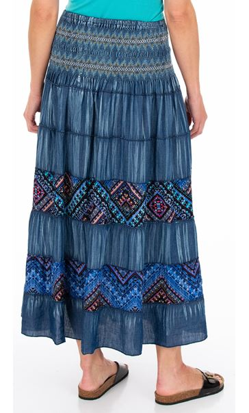 Panelled Boho Maxi Skirt Blues - Gallery Image 2