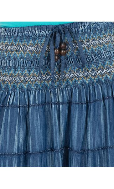 Panelled Boho Maxi Skirt Blues - Gallery Image 3