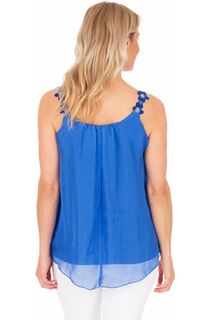 Crochet Strap Chiffon Top - Blue