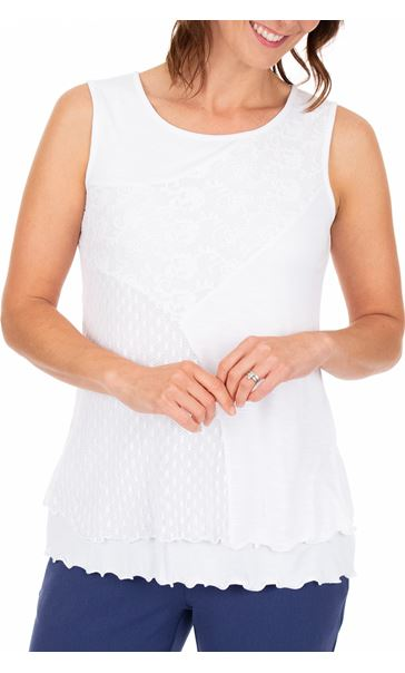 Anna Rose Sleeveless Layered Top White
