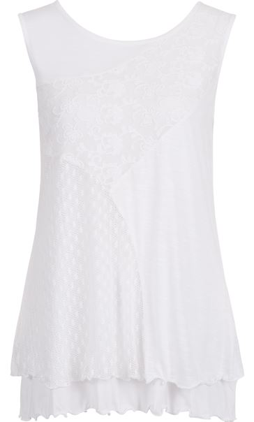 Anna Rose Sleeveless Layered Top White - Gallery Image 4