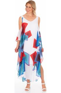 Printed Chiffon Maxi Dress - White/Blue/Orange
