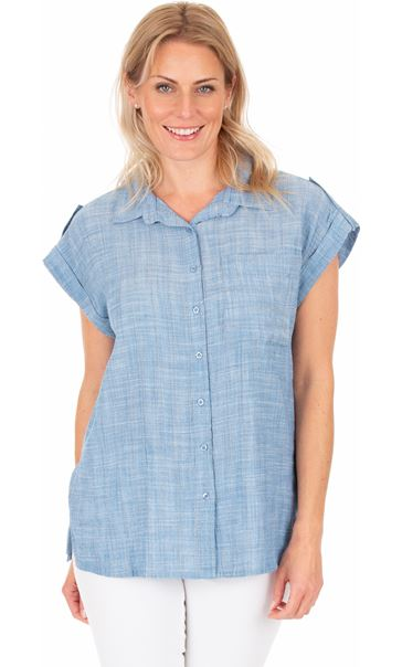 Short Sleeve Stripe Shirt Lt Blue