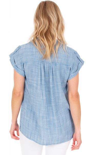 Short Sleeve Stripe Shirt Lt Blue - Gallery Image 2