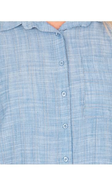 Short Sleeve Stripe Shirt Lt Blue - Gallery Image 3