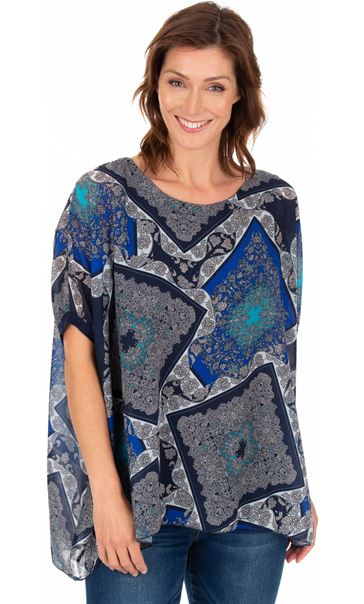 Scarf Printed Round Neck Top Blues
