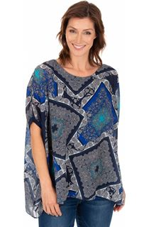 Scarf Printed Round Neck Top