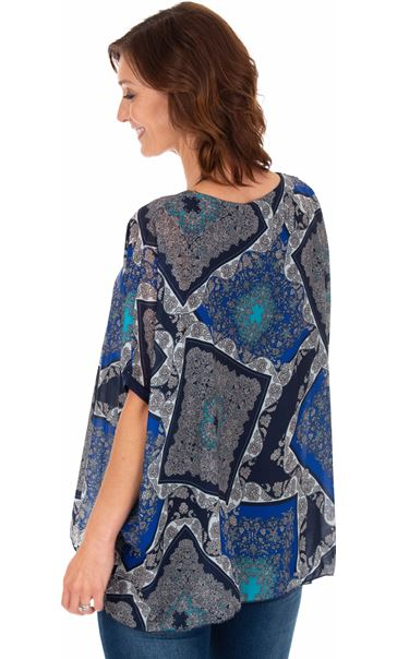 Scarf Printed Round Neck Top Blues - Gallery Image 2