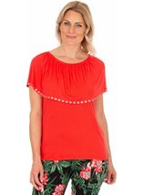 Embellished Jersey Top Rouge - Gallery Image 1