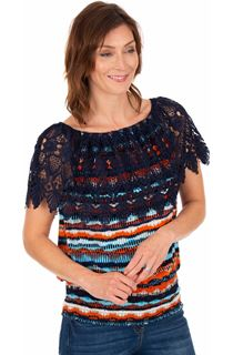 Lace Trimmed Printed Jersey Top