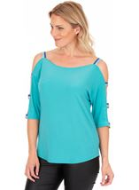 Shimmer Shoulder Strap Stretch Top