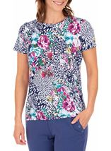 Anna Rose Printed Jersey Top Navy/Pink - Gallery Image 1