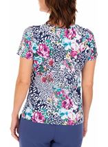 Anna Rose Printed Jersey Top Navy/Pink - Gallery Image 2