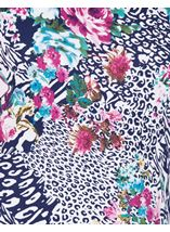 Anna Rose Printed Jersey Top Navy/Pink - Gallery Image 3