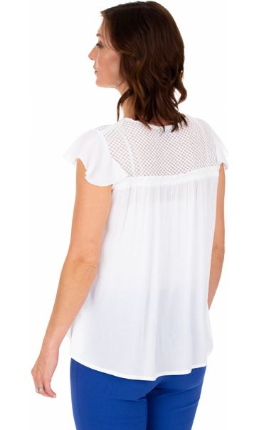 Lace Trim Crinkle Top White - Gallery Image 2
