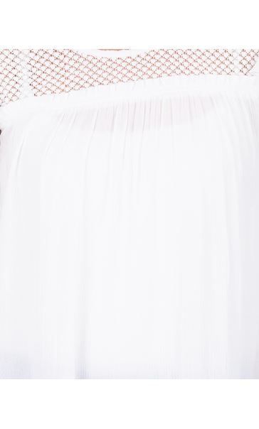 Lace Trim Crinkle Top White - Gallery Image 3