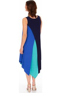 Layered Dip Hem Sleeveless Jersey Midi Dress