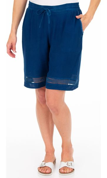 Loose Fitting Elasticated Waist Shorts Blue
