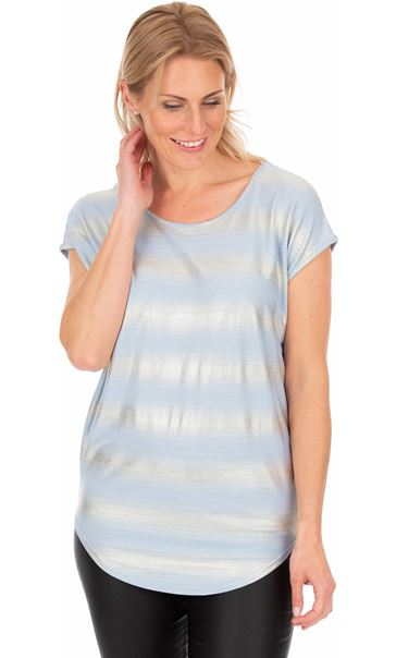 Loose Fit Jersey Shimmer Top Fog Blue