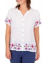 Anna Rose Embroidered Crinkle Blouse White - Gallery Image 1