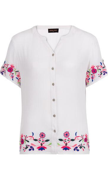 Anna Rose Embroidered Crinkle Blouse White - Gallery Image 4