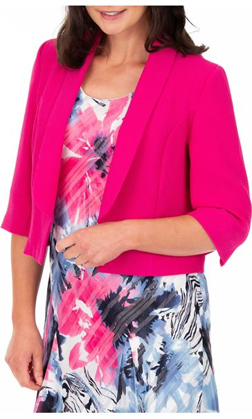 Anna Rose Cropped Open Jacket Hot Pink