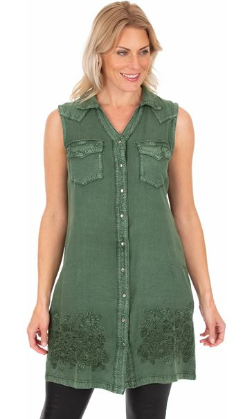 Embroidered Washed Sleeveless Tunic Khaki