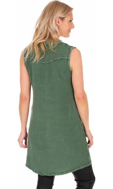 Embroidered Washed Sleeveless Tunic Khaki - Gallery Image 2