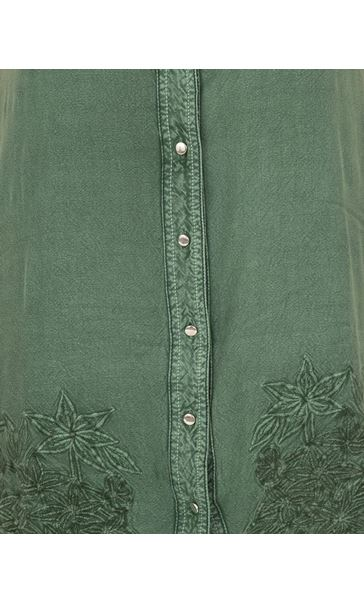 Embroidered Washed Sleeveless Tunic Khaki - Gallery Image 3