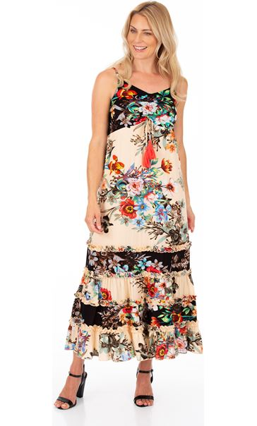 Floral Print Maxi Dress Black/Peach