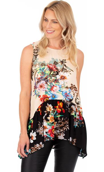 Sleeveless Floral Print Tunic Black/Peach