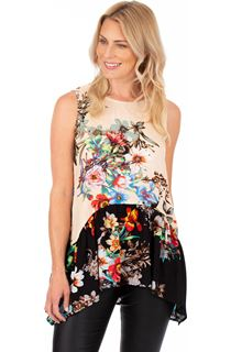 Sleeveless Floral Print Tunic