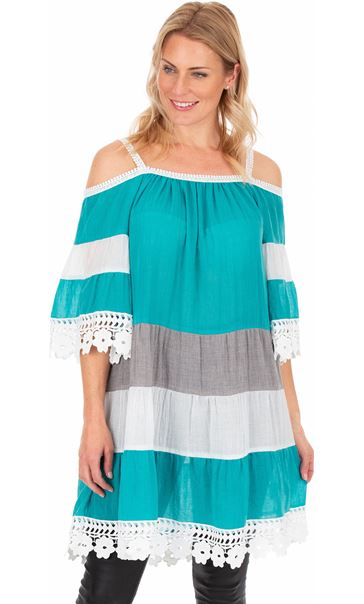 Lace Trimmed Cold Shoulder Tunic Aqua/White - Gallery Image 1