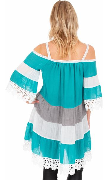 Lace Trim Cold Shoulder Tunic - Aqua/White