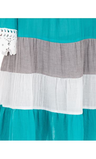 Lace Trimmed Cold Shoulder Tunic Aqua/White - Gallery Image 3