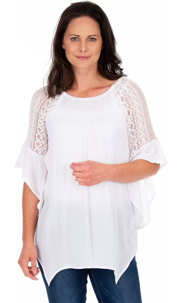 Lace Trimmed Fluted Sleeve Crinkle Top White